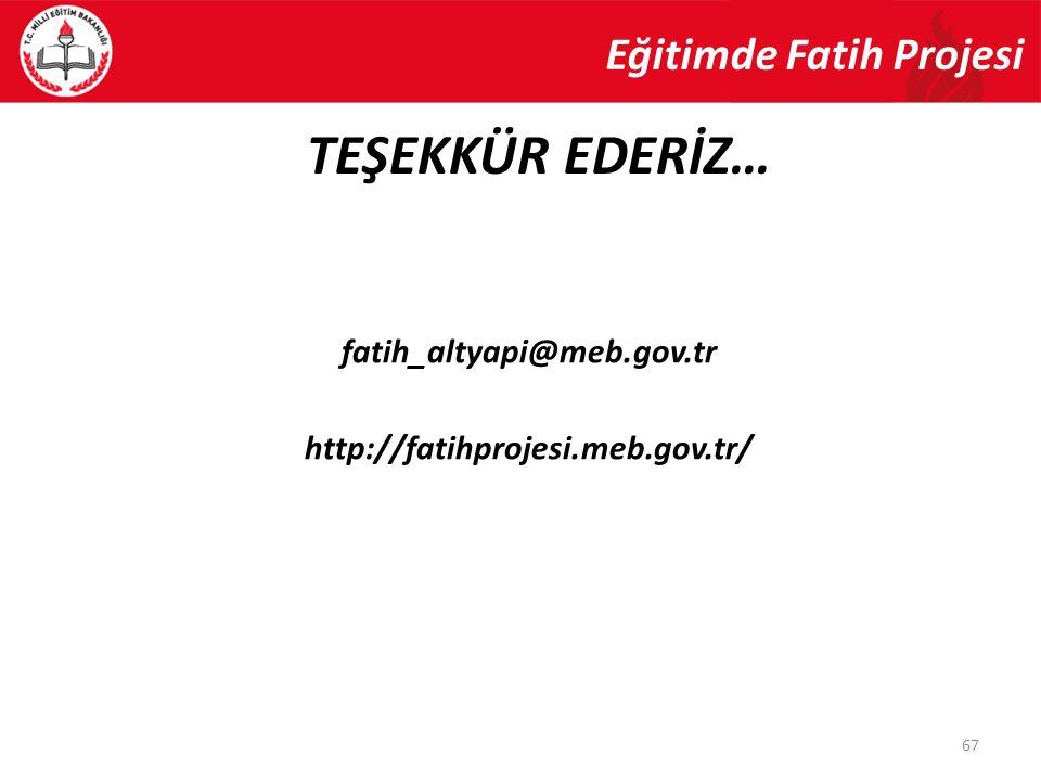 TEŞEKKÜR EDERİZ… Eğitimde Fatih Projesi fatih_altyapi@meb.gov.tr