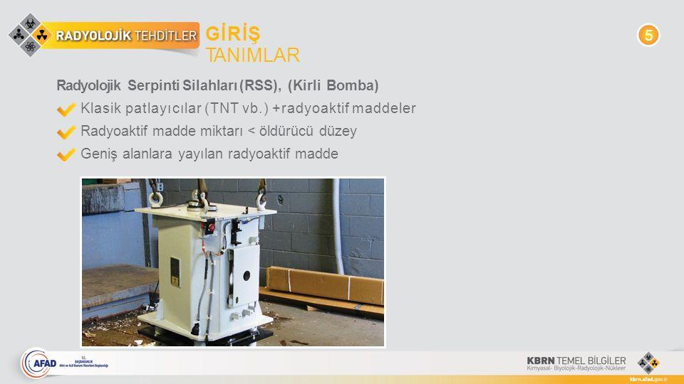 GİRİŞ TANIMLAR 5 Radyolojik Serpinti Silahları (RSS), (Kirli Bomba)