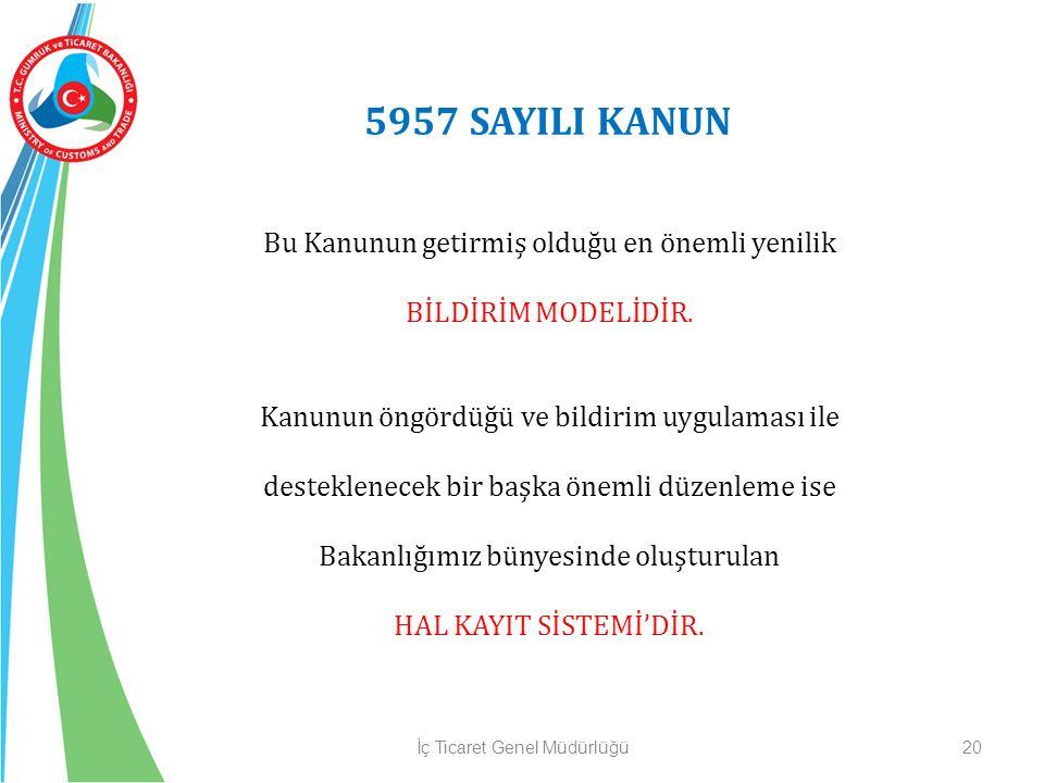 5957 SAYILI KANUN Bu Kanunun getirmiş olduğu en önemli yenilik