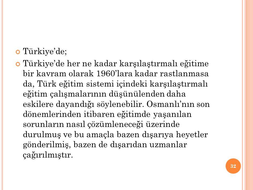 Türkiye'de;