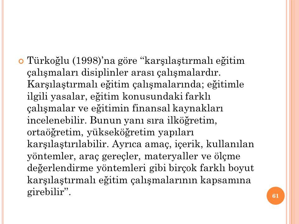 Türkoğlu (1998)'na göre ''karşılaştırmalı eğitim çalışmaları disiplinler arası çalışmalardır.