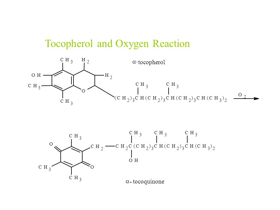 Tocopherol and Oxygen Reaction