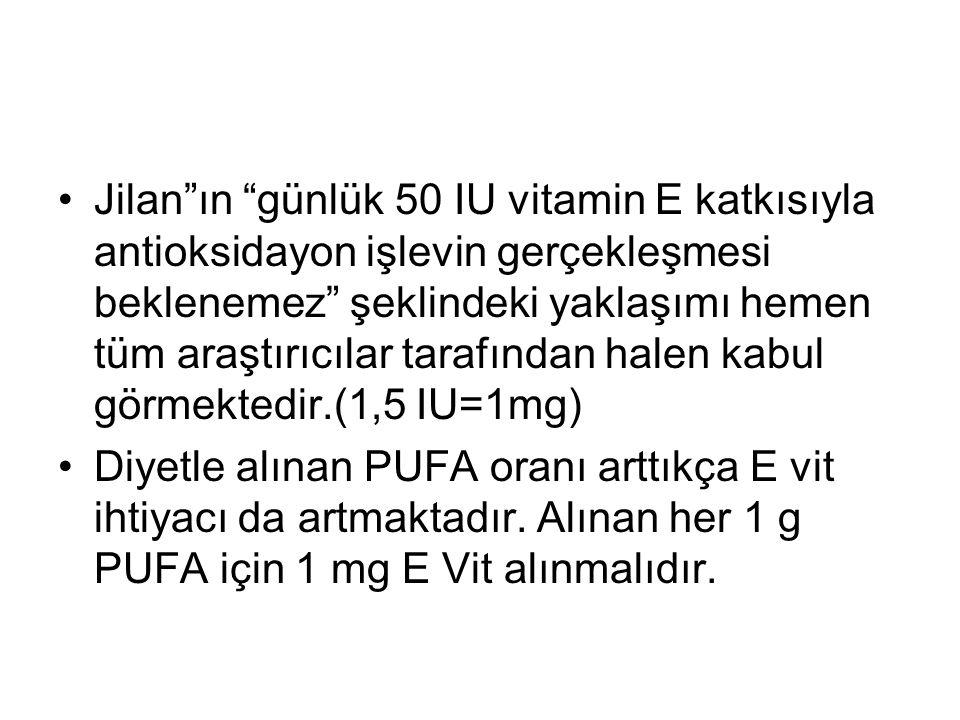 Jilan ın günlük 50 IU vitamin E katkısıyla antioksidayon işlevin gerçekleşmesi beklenemez şeklindeki yaklaşımı hemen tüm araştırıcılar tarafından halen kabul görmektedir.(1,5 IU=1mg)