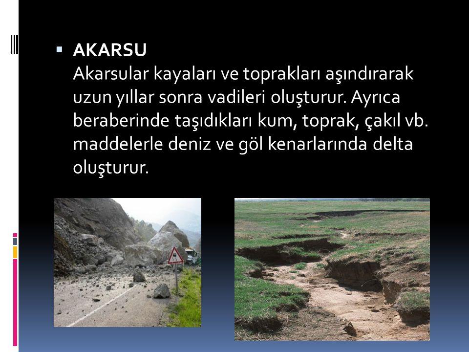 AKARSU Akarsular kayaları ve toprakları aşındırarak uzun yıllar sonra vadileri oluşturur.