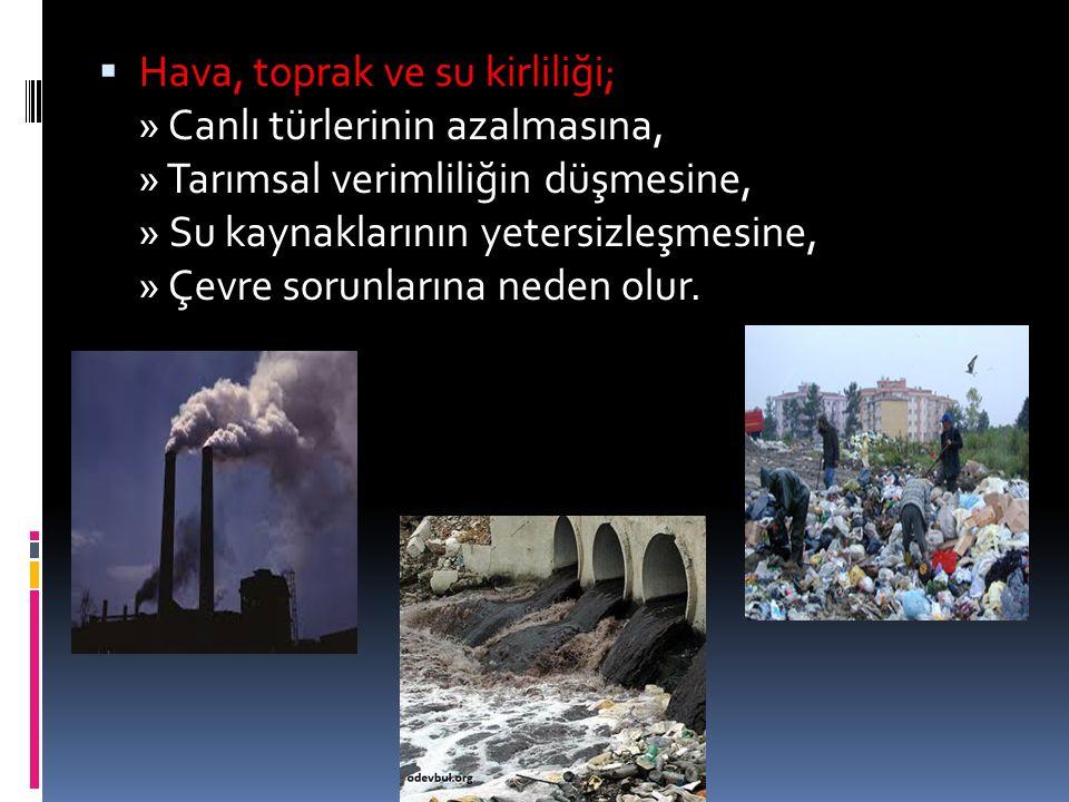 Hava, toprak ve su kirliliği; » Canlı türlerinin azalmasına, » Tarımsal verimliliğin düşmesine, » Su kaynaklarının yetersizleşmesine, » Çevre sorunlarına neden olur.