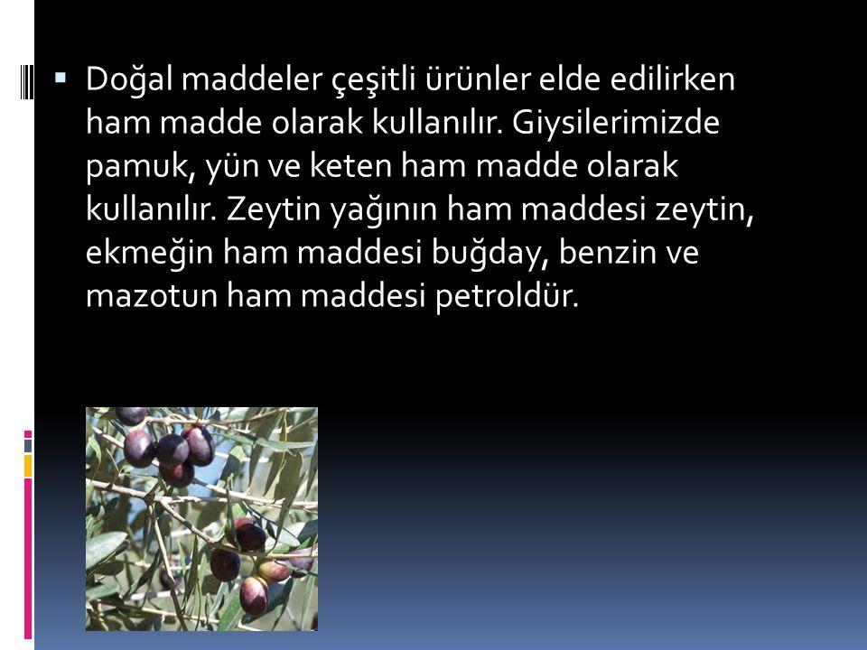 Doğal maddeler çeşitli ürünler elde edilirken ham madde olarak kullanılır.