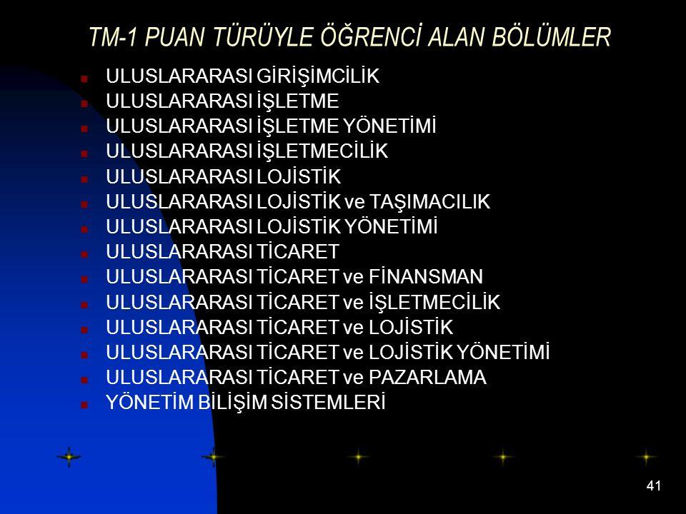 TM-1 PUAN TÜRÜYLE ÖĞRENCİ ALAN BÖLÜMLER