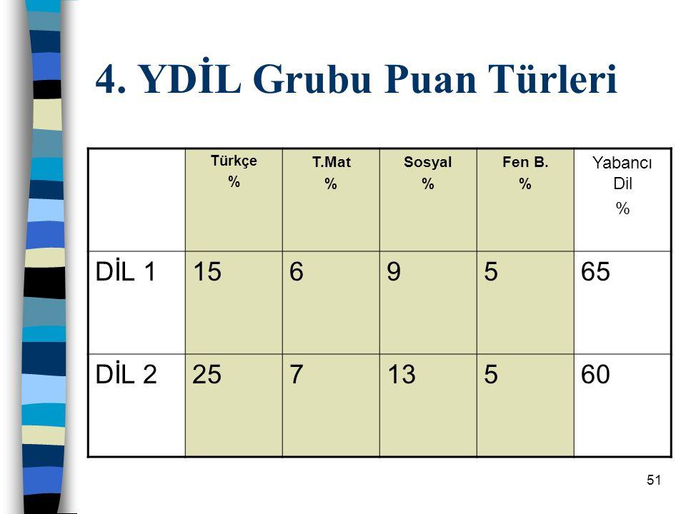 4. YDİL Grubu Puan Türleri