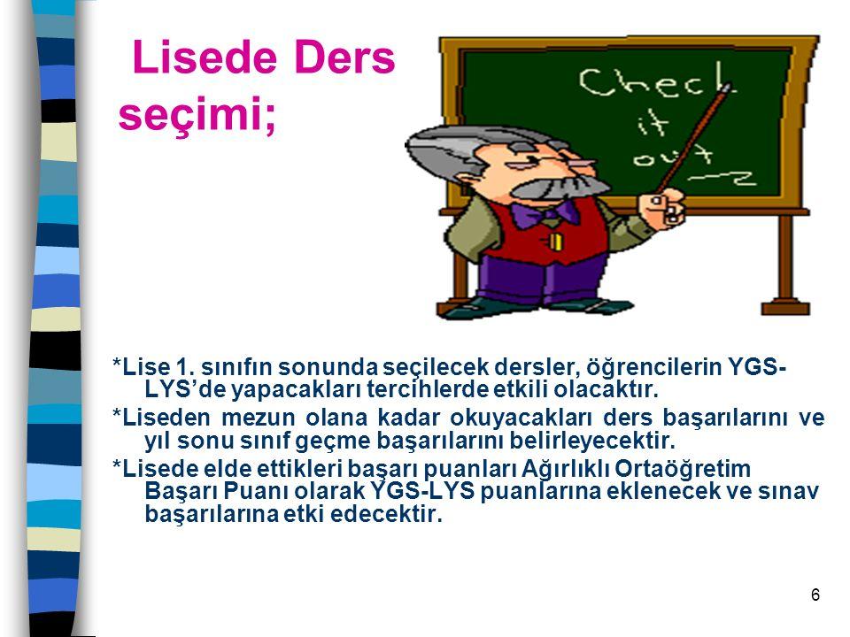 Lisede Ders seçimi; *Lise 1. sınıfın sonunda seçilecek dersler, öğrencilerin YGS-LYS'de yapacakları tercihlerde etkili olacaktır.