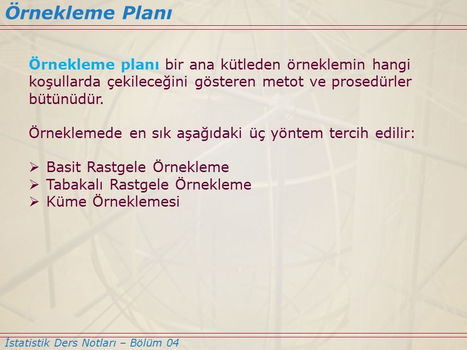 Örnekleme Planı Örnekleme planı bir ana kütleden örneklemin hangi koşullarda çekileceğini gösteren metot ve prosedürler bütünüdür.