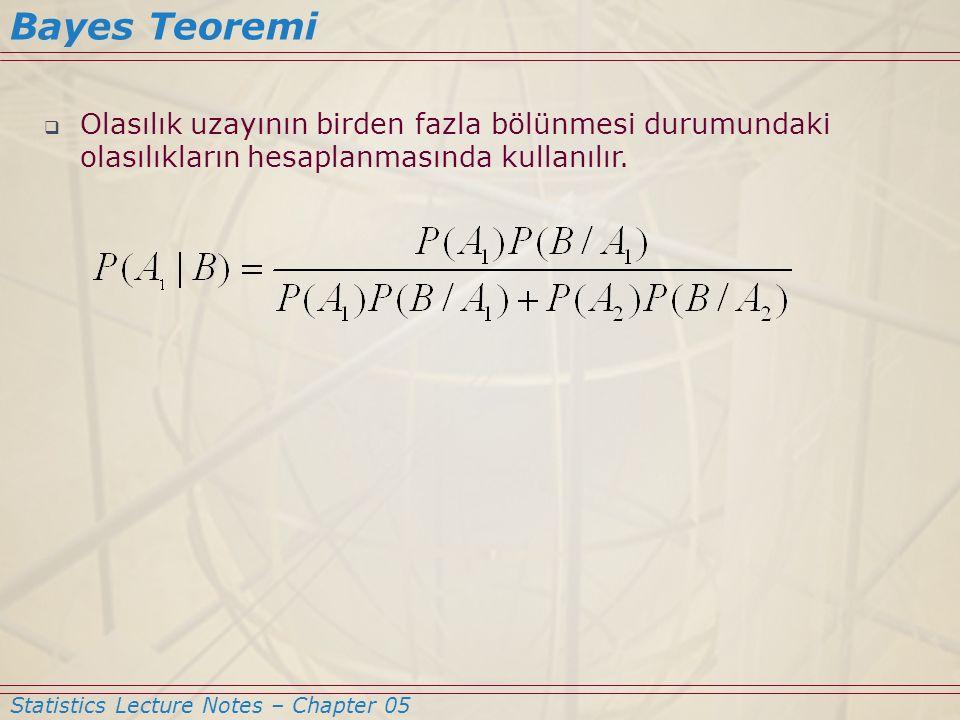 Bayes Teoremi Olasılık uzayının birden fazla bölünmesi durumundaki olasılıkların hesaplanmasında kullanılır.