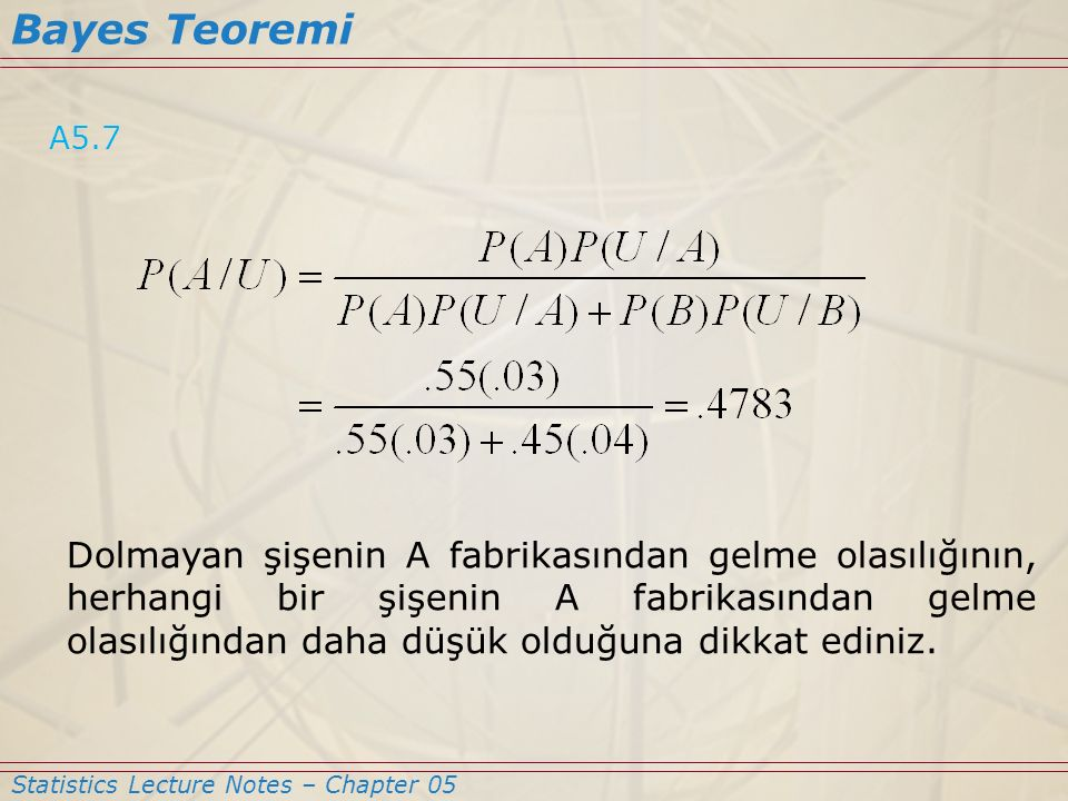 Bayes Teoremi A5.7.