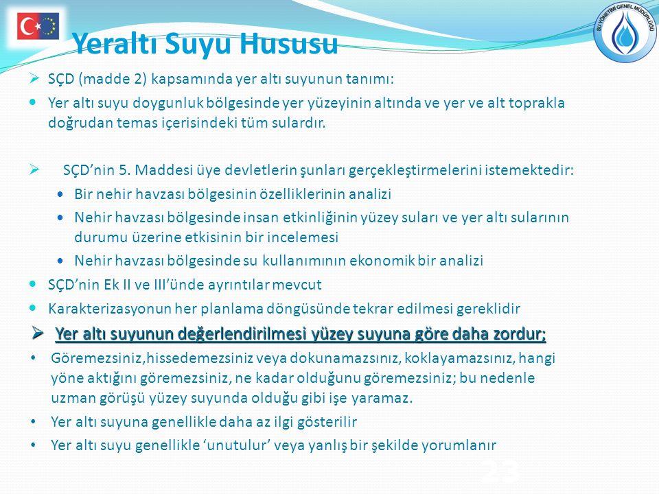 Yeraltı Suyu Hususu SÇD (madde 2) kapsamında yer altı suyunun tanımı: