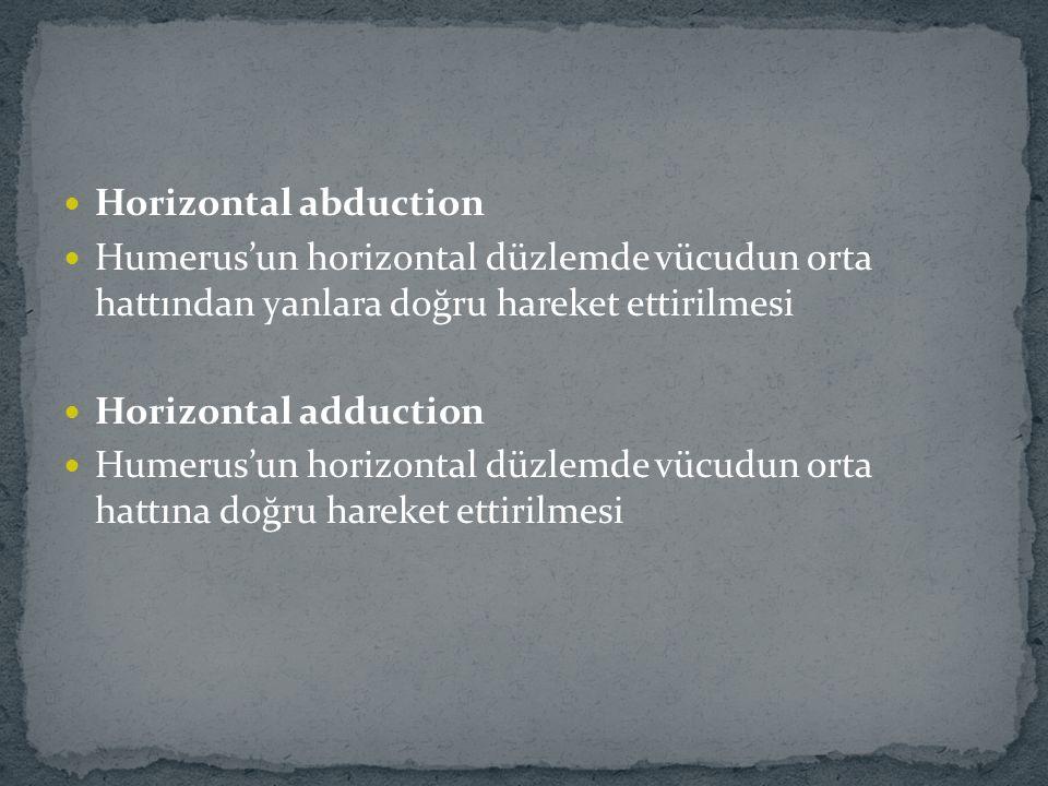 Horizontal abduction Humerus'un horizontal düzlemde vücudun orta hattından yanlara doğru hareket ettirilmesi.