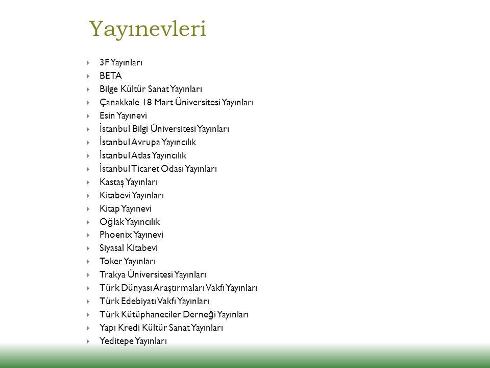 Yayınevleri 3F Yayınları BETA Bilge Kültür Sanat Yayınları