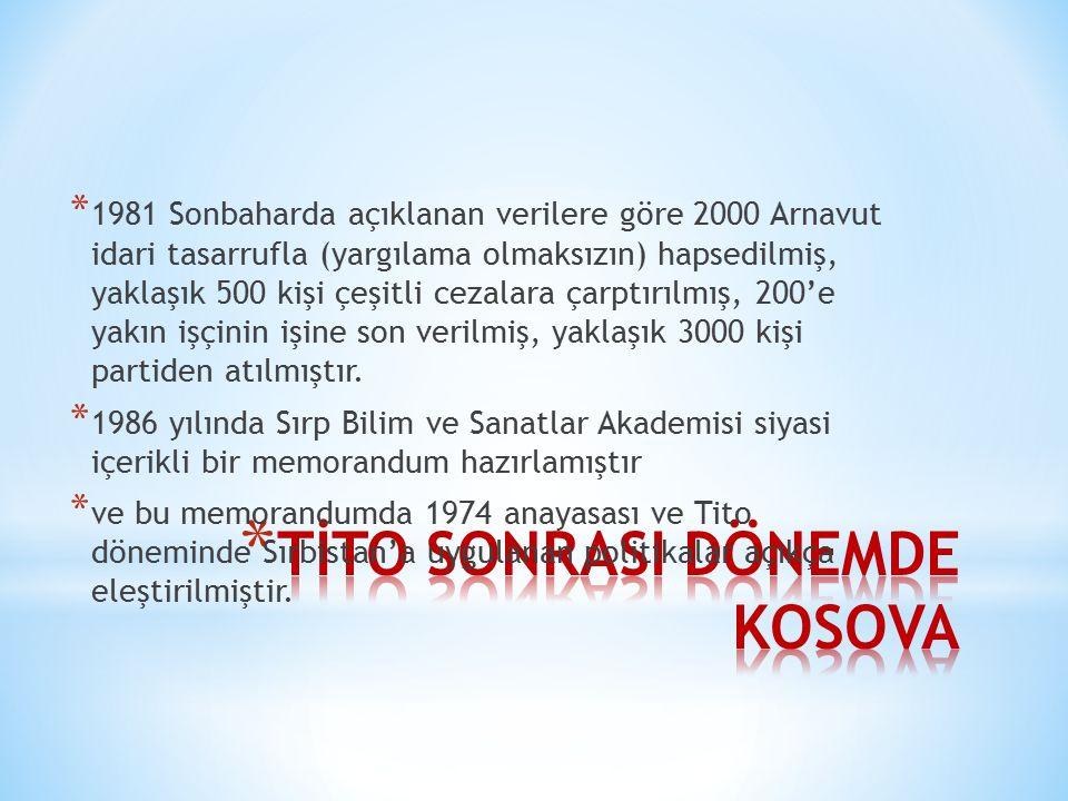TİTO SONRASI DÖNEMDE KOSOVA