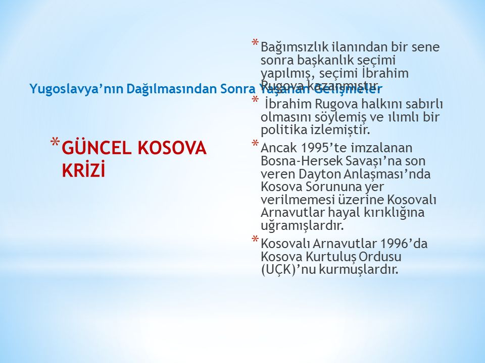 Bağımsızlık ilanından bir sene sonra başkanlık seçimi yapılmış, seçimi İbrahim Rugova kazanmıştır.