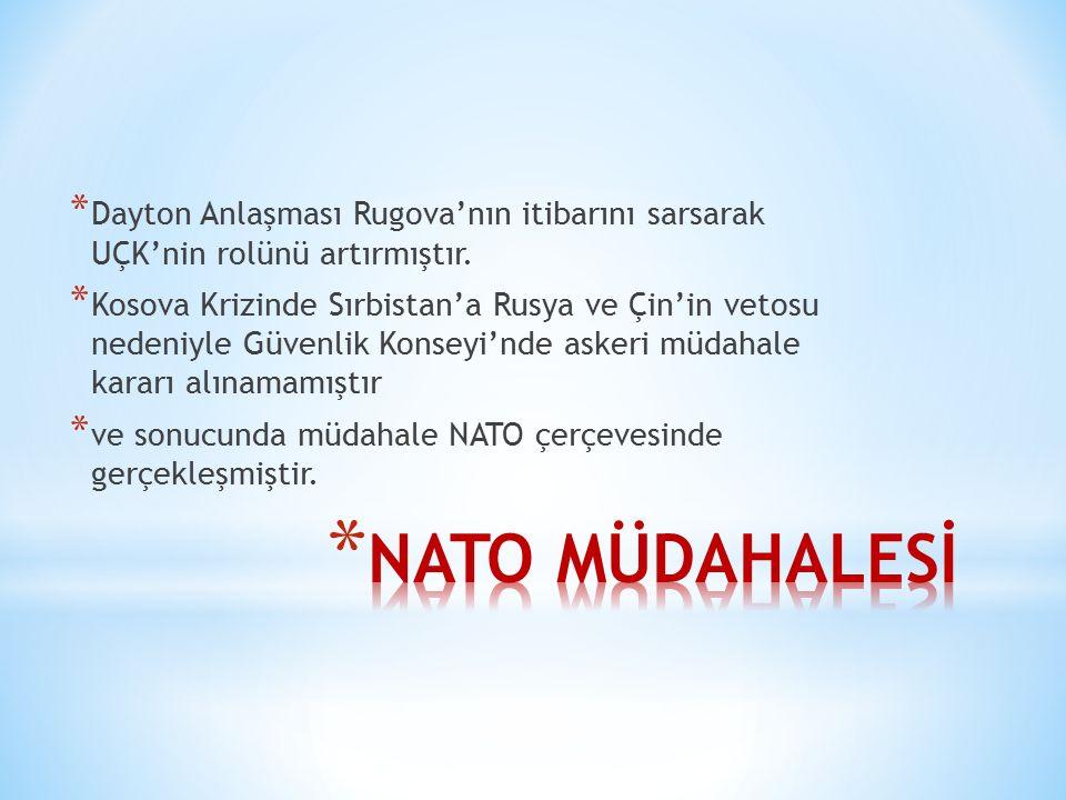 Dayton Anlaşması Rugova'nın itibarını sarsarak UÇK'nin rolünü artırmıştır.