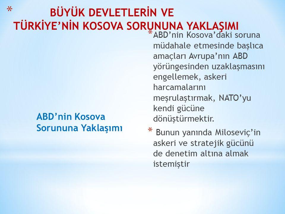 BÜYÜK DEVLETLERİN VE TÜRKİYE'NİN KOSOVA SORUNUNA YAKLAŞIMI