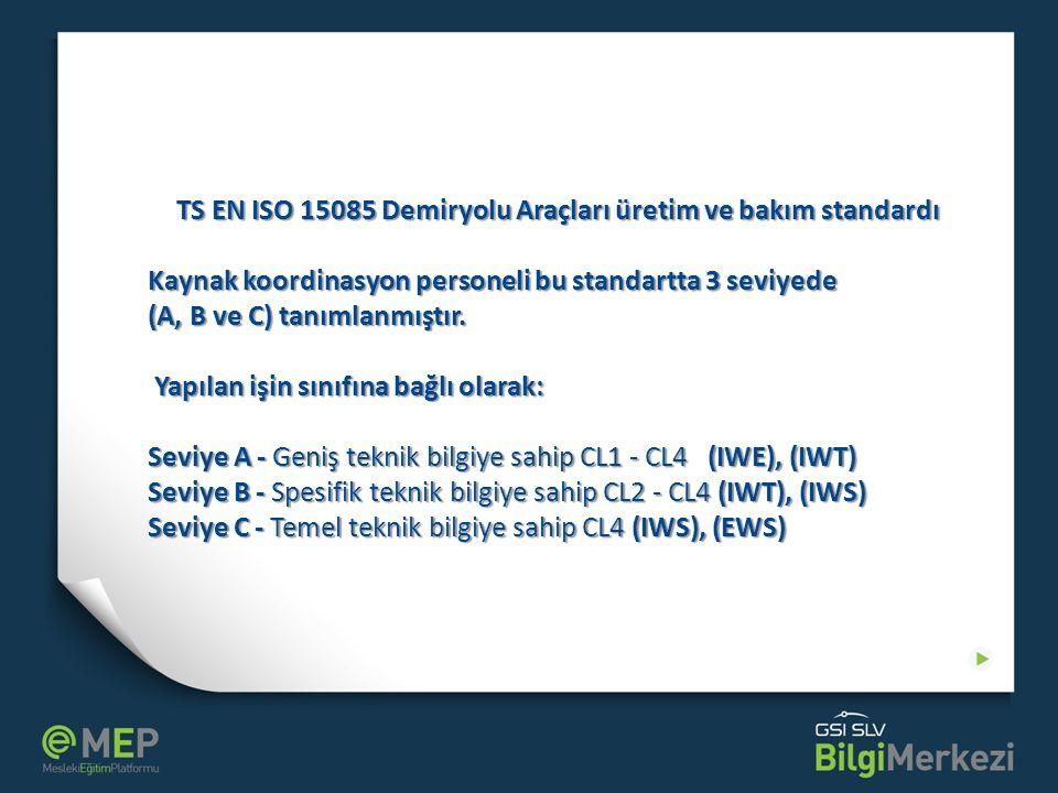 TS EN ISO 15085 Demiryolu Araçları üretim ve bakım standardı