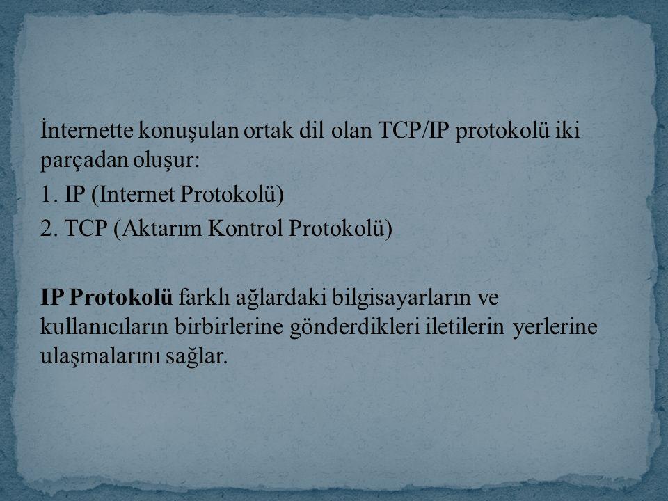İnternette konuşulan ortak dil olan TCP/IP protokolü iki parçadan oluşur: 1.