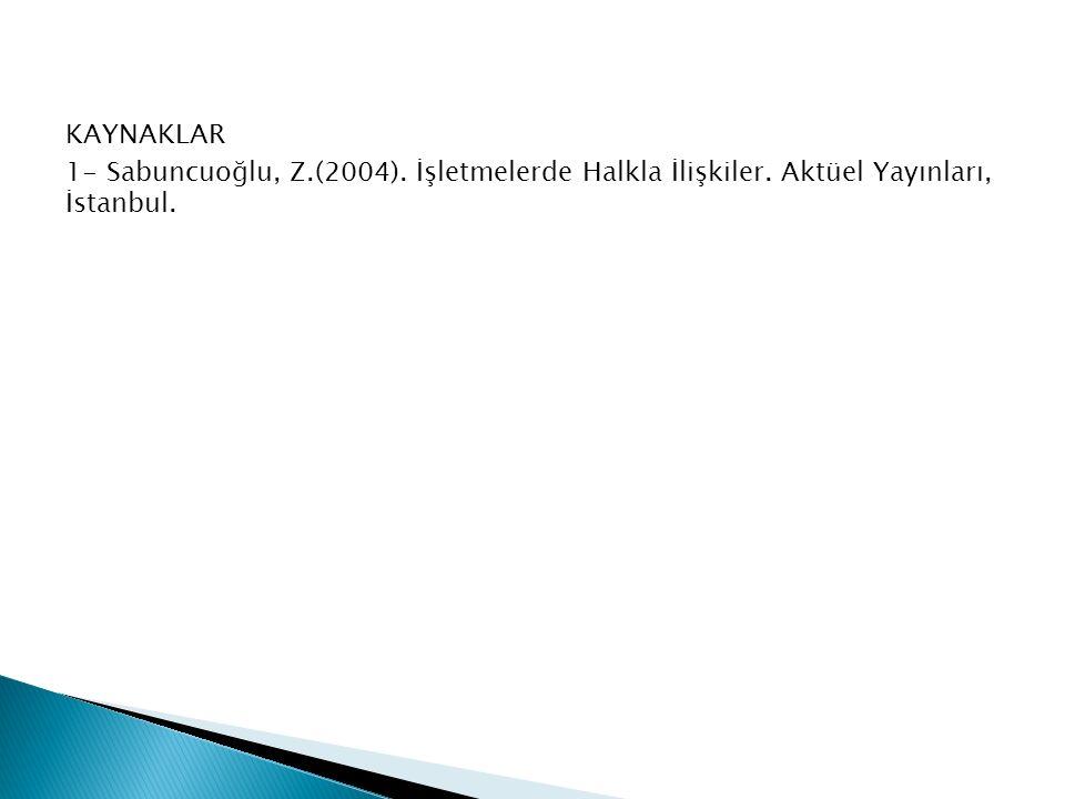 KAYNAKLAR 1- Sabuncuoğlu, Z. (2004). İşletmelerde Halkla İlişkiler