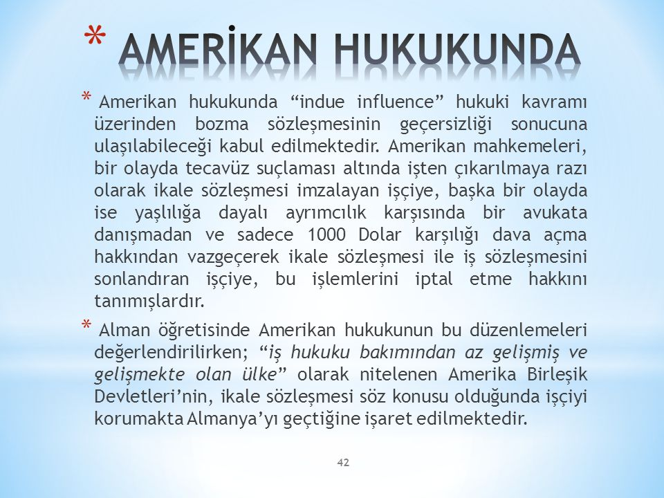 AMERİKAN HUKUKUNDA