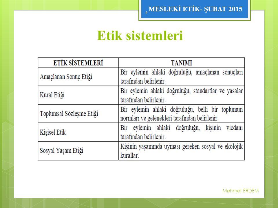 Etik sistemleri Mehmet ERDEM