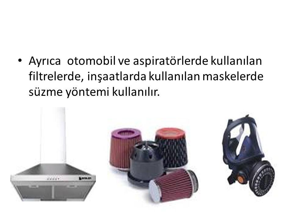 Ayrıca otomobil ve aspiratörlerde kullanılan filtrelerde, inşaatlarda kullanılan maskelerde süzme yöntemi kullanılır.