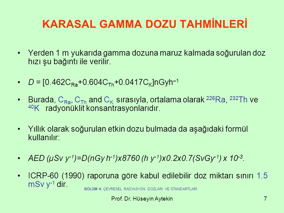 KARASAL GAMMA DOZU TAHMİNLERİ