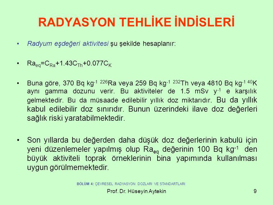 RADYASYON TEHLİKE İNDİSLERİ