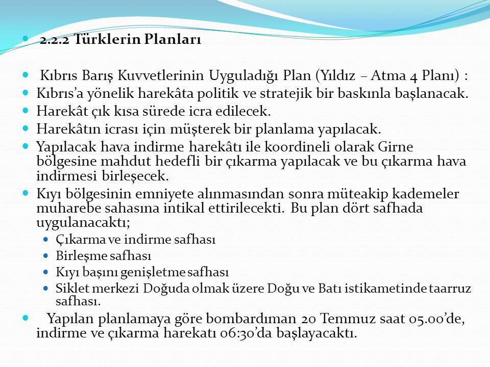 Kıbrıs Barış Kuvvetlerinin Uyguladığı Plan (Yıldız – Atma 4 Planı) :