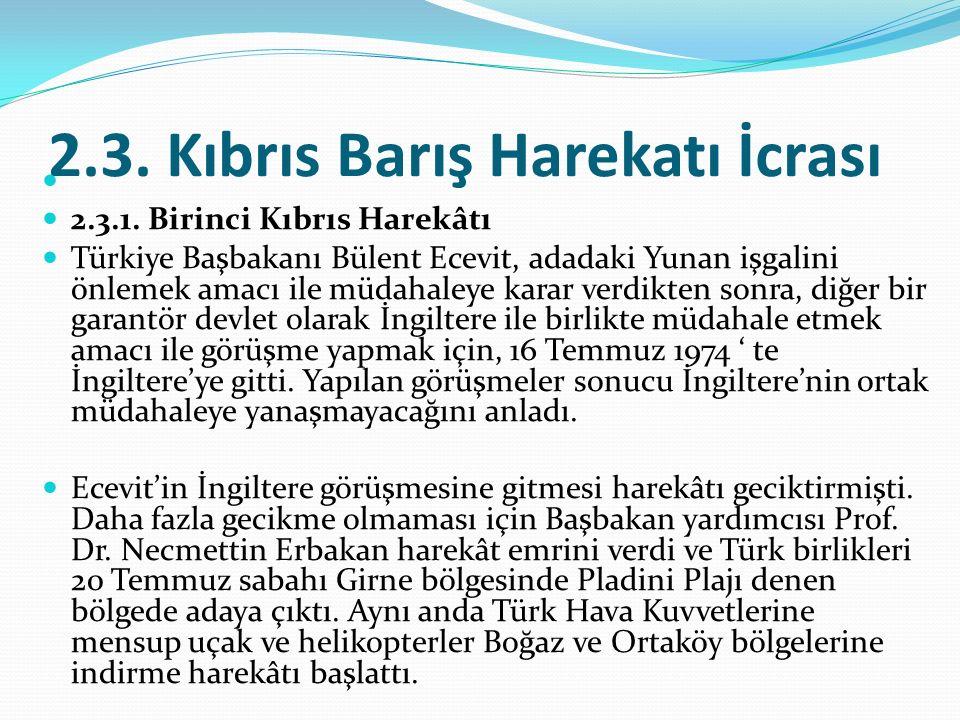 2.3. Kıbrıs Barış Harekatı İcrası