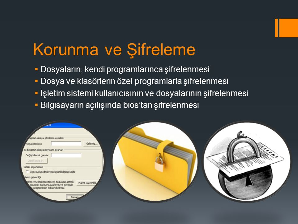 Korunma ve Şifreleme Dosyaların, kendi programlarınca şifrelenmesi