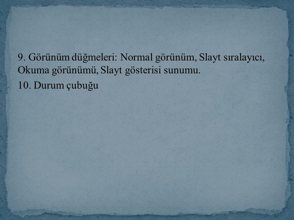 9. Görünüm düğmeleri: Normal görünüm, Slayt sıralayıcı, Okuma görünümü, Slayt gösterisi sunumu.