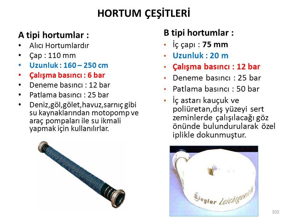 HORTUM ÇEŞİTLERİ B tipi hortumlar : A tipi hortumlar : İç çapı : 75 mm