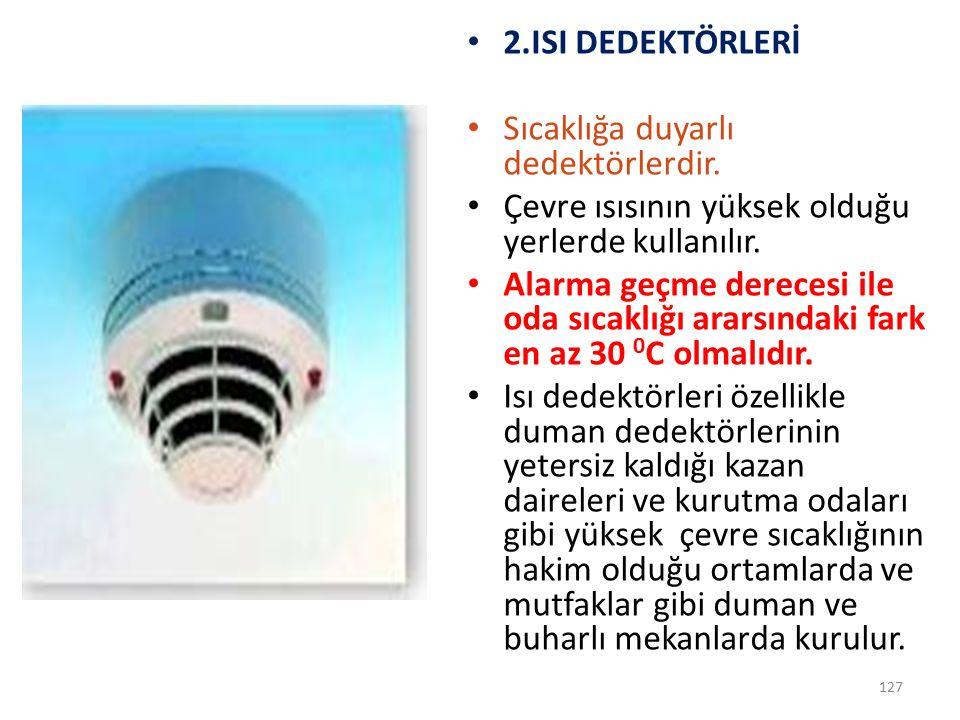 2.ISI DEDEKTÖRLERİ Sıcaklığa duyarlı dedektörlerdir. Çevre ısısının yüksek olduğu yerlerde kullanılır.