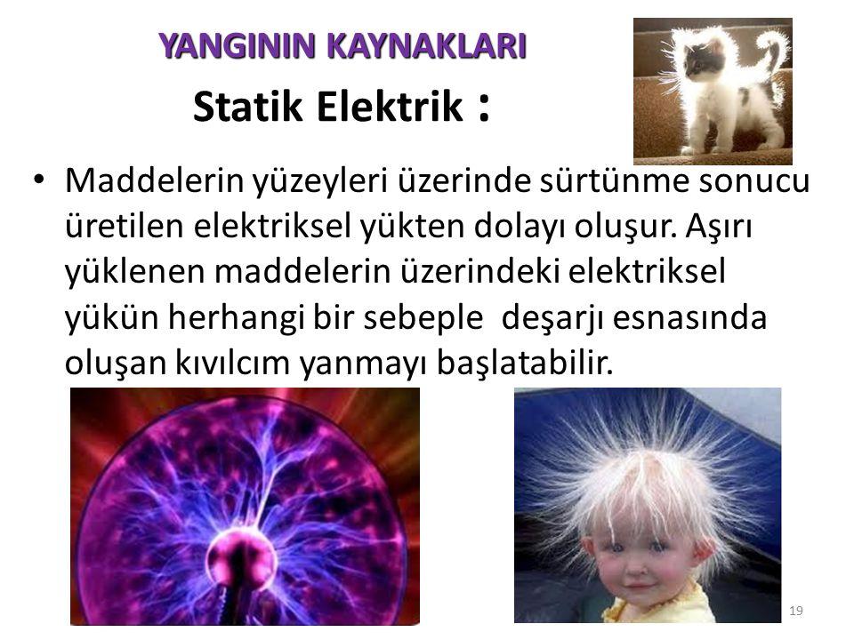 YANGININ KAYNAKLARI Statik Elektrik :