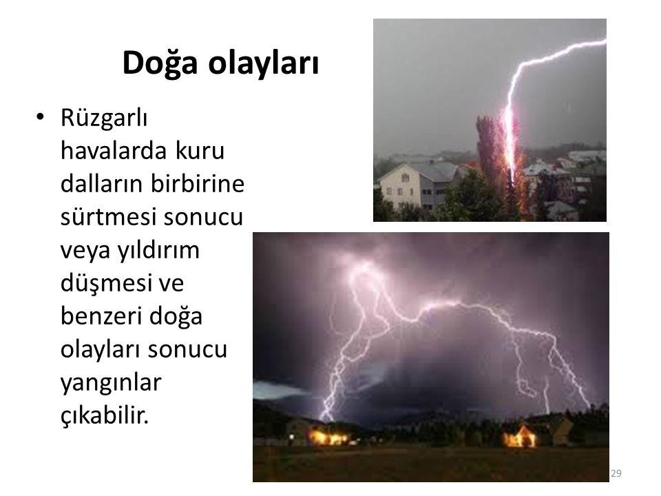 Doğa olayları Rüzgarlı havalarda kuru dalların birbirine sürtmesi sonucu veya yıldırım düşmesi ve benzeri doğa olayları sonucu yangınlar çıkabilir.