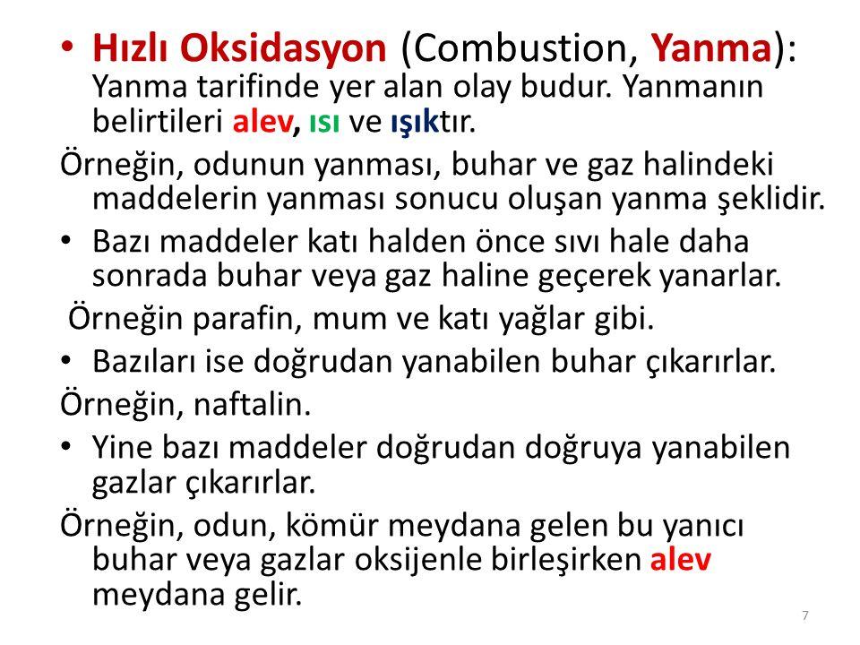Hızlı Oksidasyon (Combustion, Yanma): Yanma tarifinde yer alan olay budur. Yanmanın belirtileri alev, ısı ve ışıktır.