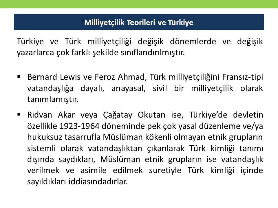 'Milliyetçilik Teorileri ve Türkiye