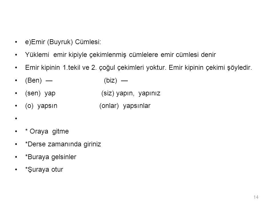 e)Emir (Buyruk) Cümlesi: