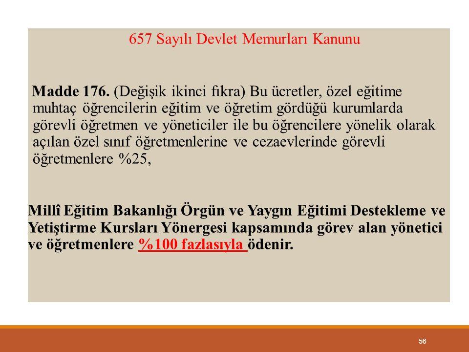 657 Sayılı Devlet Memurları Kanunu Madde 176