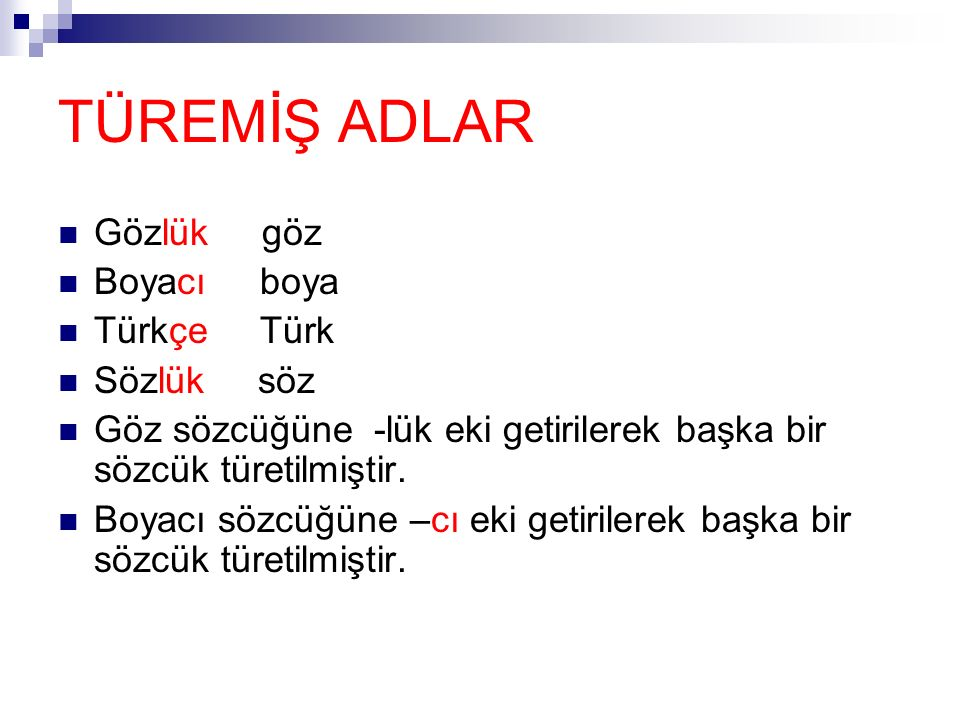 TÜREMİŞ ADLAR Gözlük göz Boyacı boya Türkçe Türk Sözlük söz