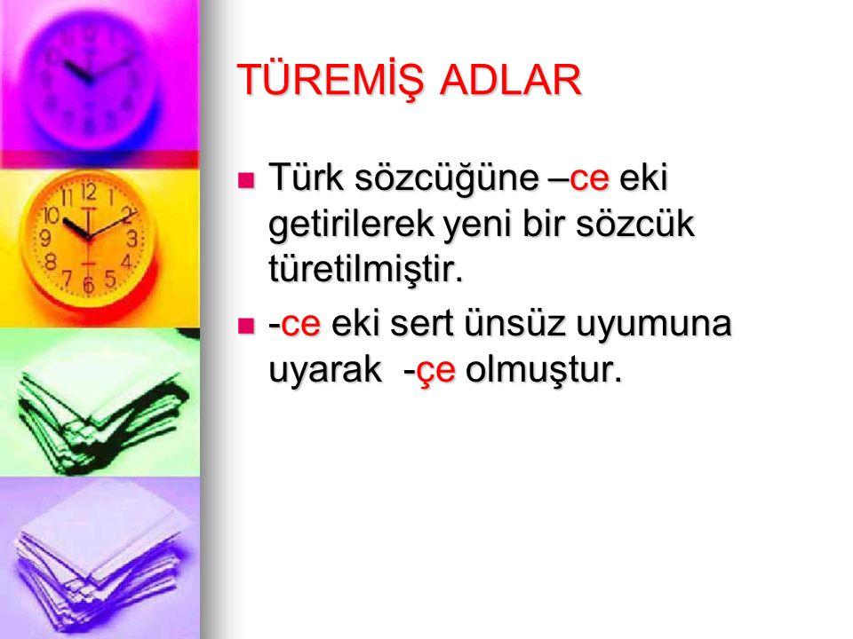 TÜREMİŞ ADLAR Türk sözcüğüne –ce eki getirilerek yeni bir sözcük türetilmiştir.
