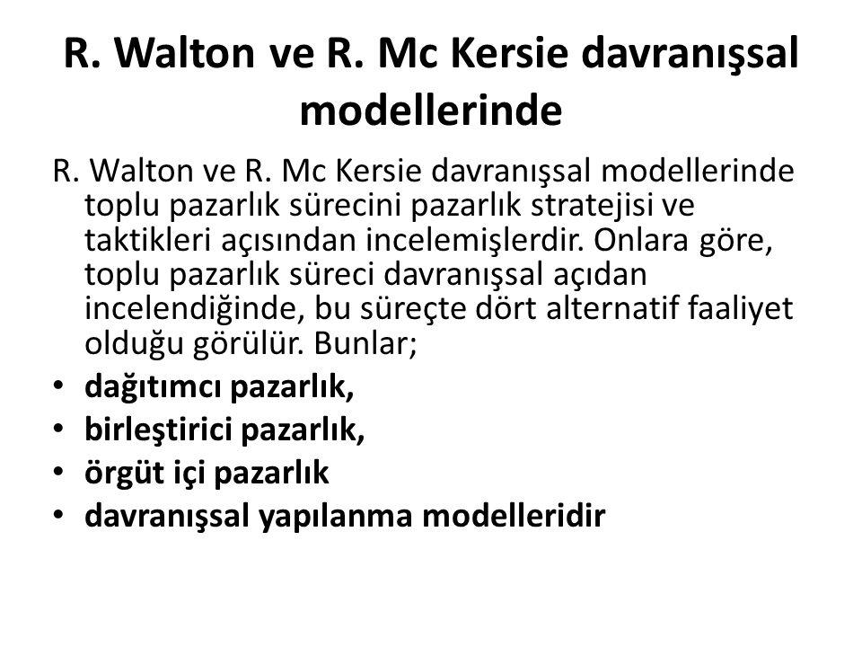R. Walton ve R. Mc Kersie davranışsal modellerinde
