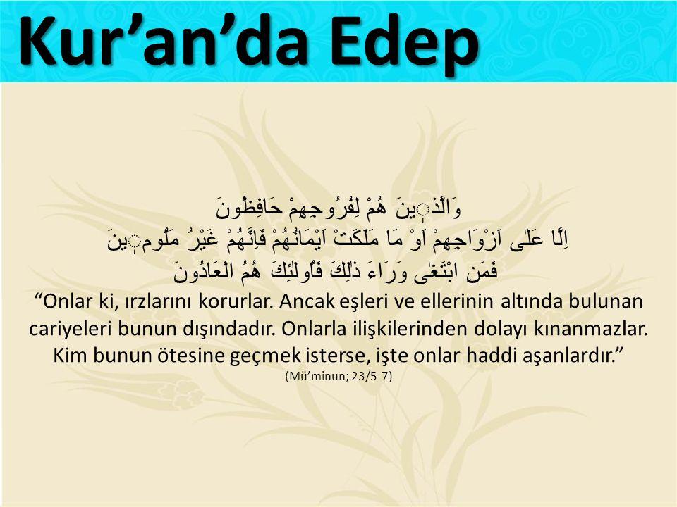 Kur'an'da Edep وَالَّذٖينَ هُمْ لِفُرُوجِهِمْ حَافِظُونَ اِلَّا عَلٰى اَزْوَاجِهِمْ اَوْ مَا مَلَكَتْ اَيْمَانُهُمْ فَاِنَّهُمْ غَيْرُ مَلُومٖينَ
