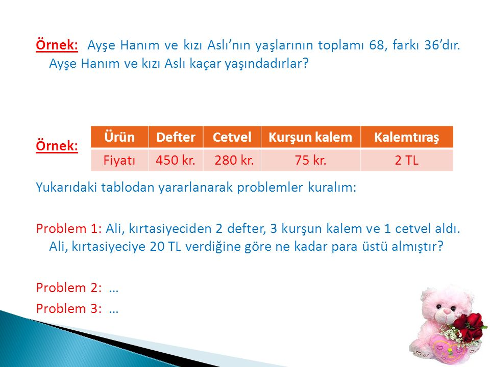 Örnek: Ayşe Hanım ve kızı Aslı'nın yaşlarının toplamı 68, farkı 36'dır