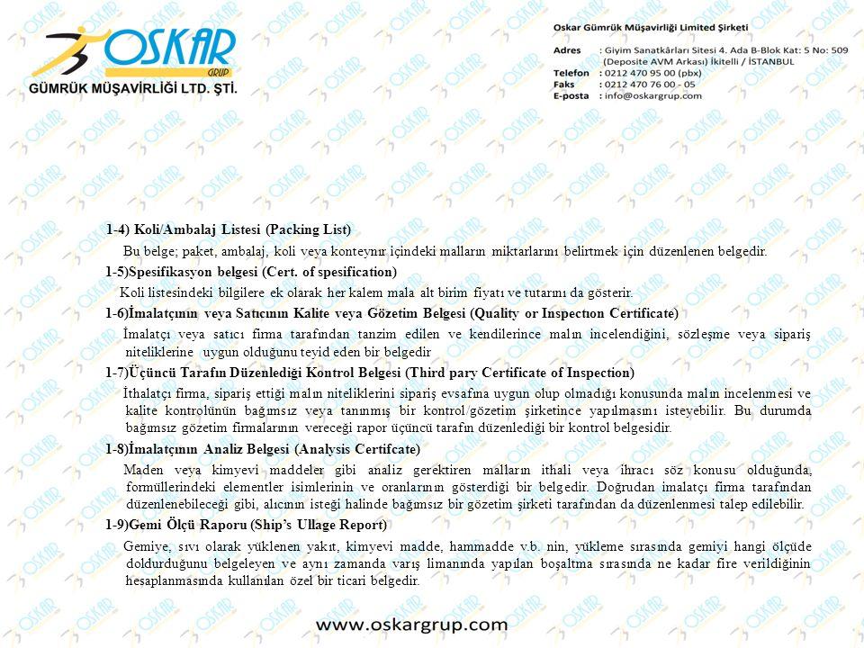 1-4) Koli/Ambalaj Listesi (Packing List)