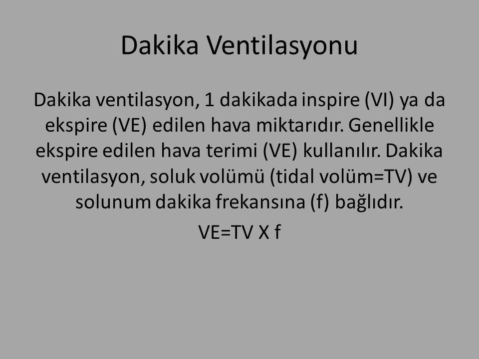 Dakika Ventilasyonu